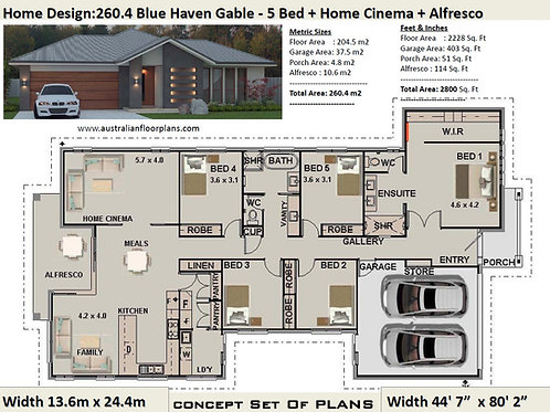5 Bedroom House PLans Australia : 260.4 m2  | Preliminary House Plan Set