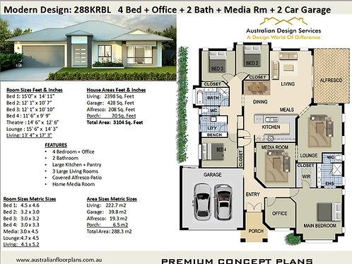 4 Bedroom Modern House Plans : 288krbl
