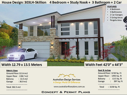 2 story house designs and floor plans 303 Skillion |  : 302.5 m2 | 3230 Sq Foot