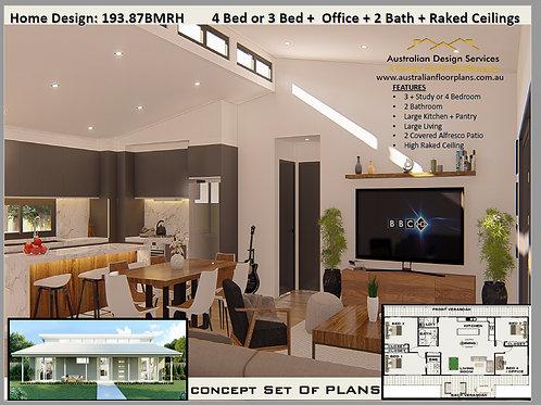 4 Bed or 3 Bed +  Office + 2 Bath + Raked Ceilings    193.87BMRH