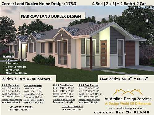 4 Bedroom Duplex design for Narrow Land |  176.3 DU Duplex House Plan
