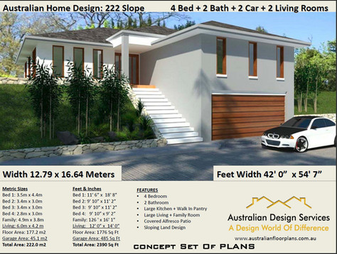 4 BEDROOM -SLOPING LAND-KIT HOME PLAN