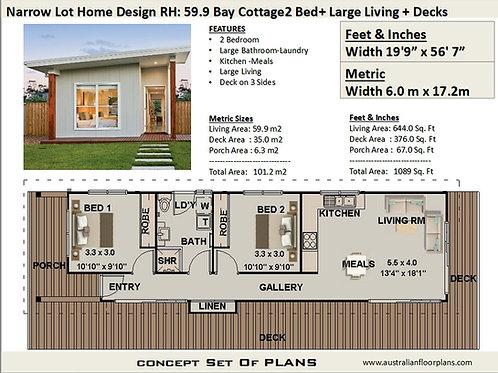 59.9 Bay Cottage | 2 Bed House Plan-101.2 m2 | Preliminary House Plan Set-4 Sale