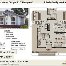 82.7-Hamptons- Free 2 Bed House Plan Australia