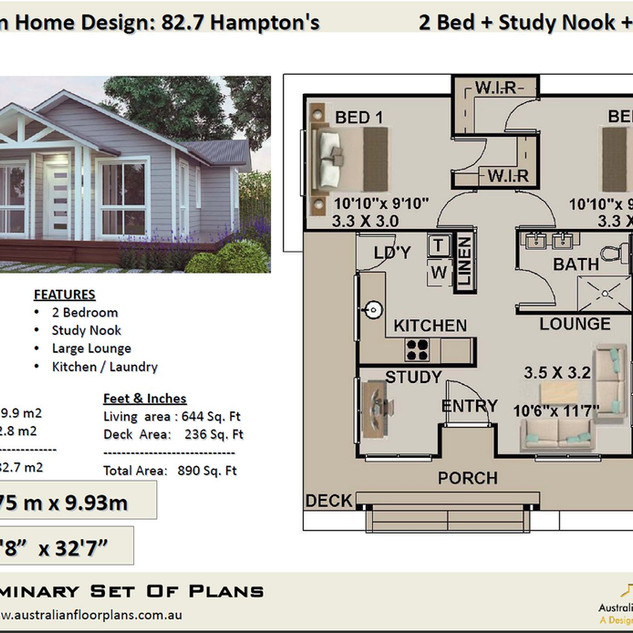82.7-Hamptons- Free 2 Bed House Plan Australia