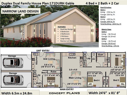 Duplex Design: 171 DU Dual Key House Plan