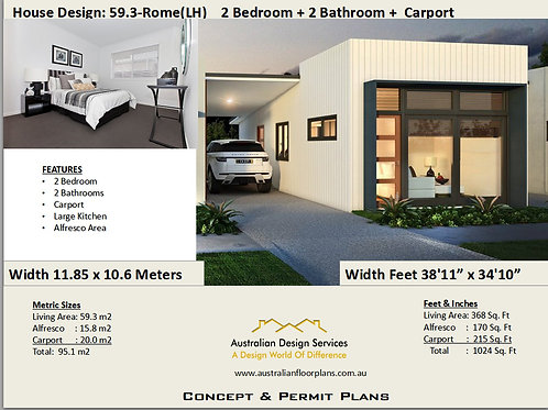 Granny Flat House Plan 2 Bedroom 2 Bathroom |  59.3 LH- Rome House Plan Set