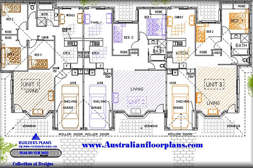 336 DU | 7 Bed x 3 Bath x 3 Car:336.69 m2  | Triplex Design Preliminary Plans