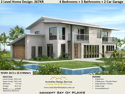 4 Bedroom designs: 267.00  m2 | 267 KRPM House Plans
