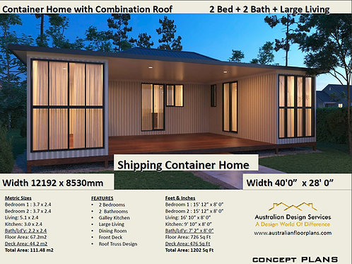 Shipping Container Home plans:1200 Sq Foot Combination Roof  | Concept Home Plan