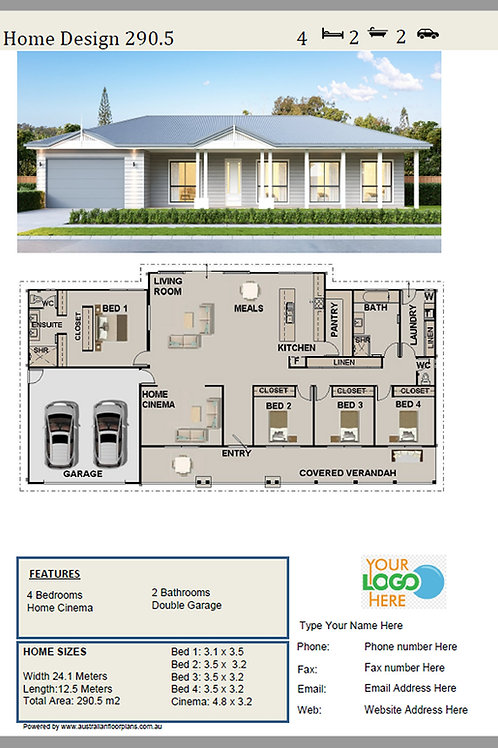 Country 4 Bed Home Design: 290.5 Angela