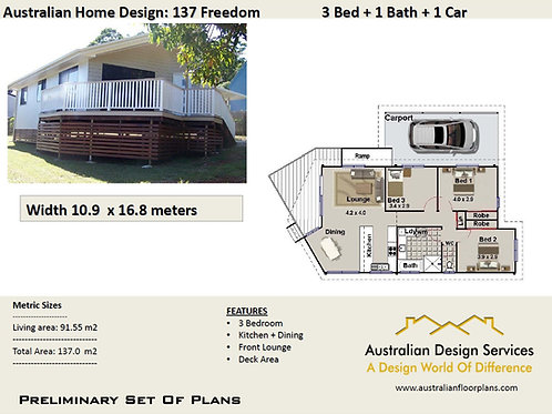 137 Freedom- 3 Bed Raised House Plan :137.0 m2 | Preliminary House Plan Set