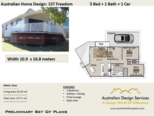137 Freedom  3 Bed Raised House Plan :137.0 M2 | Preliminary House Plan Set