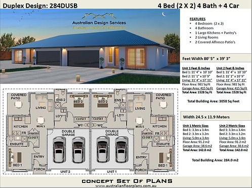 Duplex House Plan: 284DUSB - For Sale