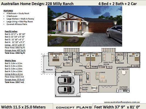 Ranch Style Narrow Lot Modern 4 bedroom house plans | 228 Milly Ranch