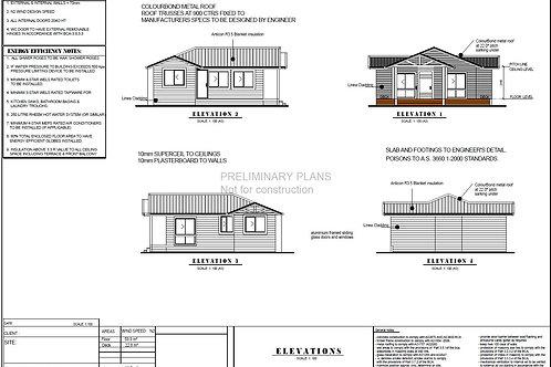 82.7 Hamptons | 2 Bed House Plan-82.7  m2 | Preliminary House Plan Set- 4 Sale