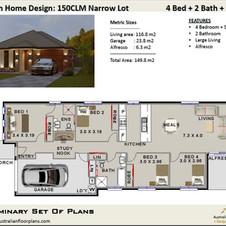 4 Bedroom Narrow Lot House Plan150RH