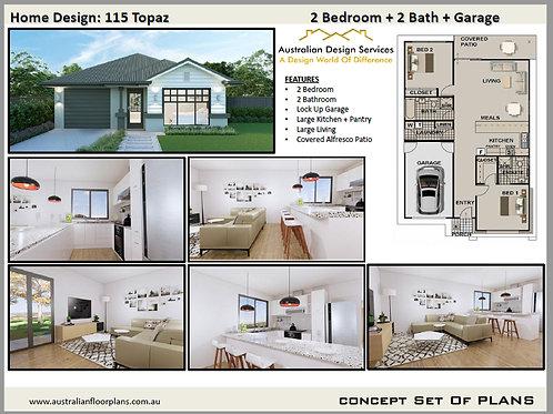 Small House Plan 2 Bedroom + 2 Bath :115 Topaz LH | Concept House Plan Set