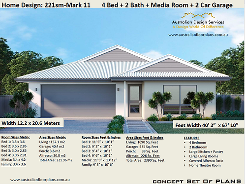 Modern Home Design 4 bedroom : 221SB-Mark11
