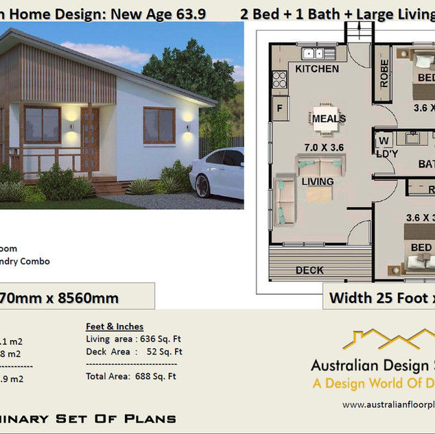 63.9 Skillion Modern Free 2 Bed House Plan Australia