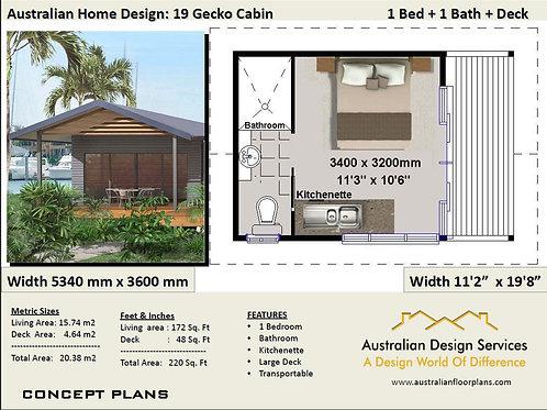 19 Gecko Small House Plan - 19.2 m2 | Transportable | Preliminary House Plan Set