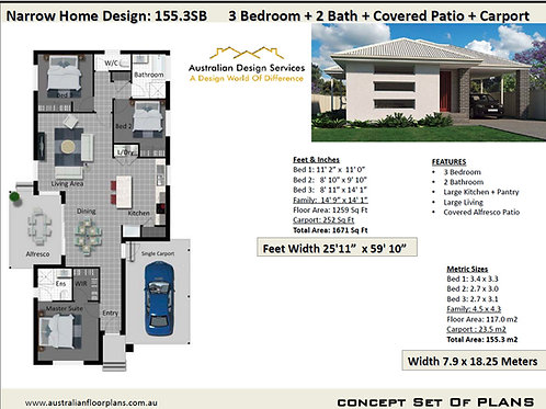 155.3 SB Narrow Lot 3 Bedroom Floor Plan :155.3 m2 | Preliminary House Plan Set