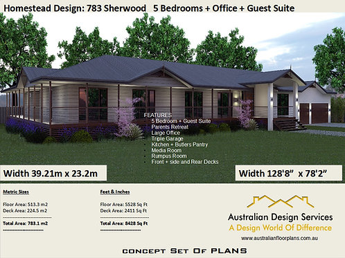 Homestead 6 Bedroom home : 783.1m2 Sherwood Design  | Concept House Plans