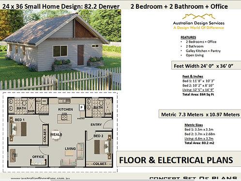 Small Home Design: 82.2 Denver  2 Bedroom + 2 Bathroom + Office