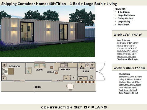 Shipping Container Home Plan:Titian 40ft | Construction House Plans
