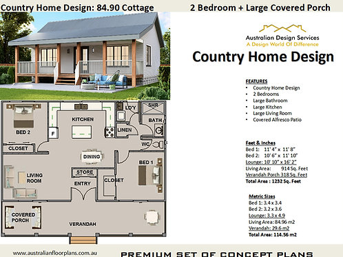 Country Home Design: 84.90 Cottage :84.9 Cottage