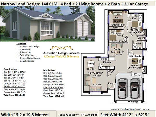 Narrow-Land kit home Plan