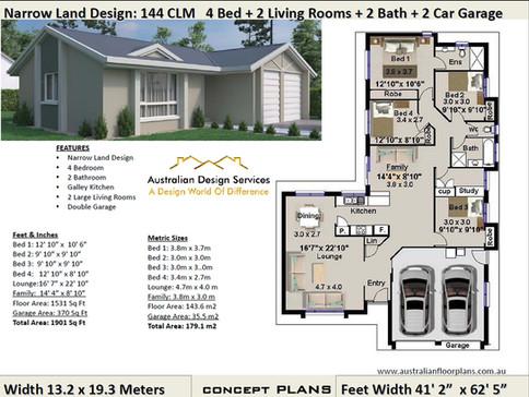 144CLM Narrow-Land kit home Plan