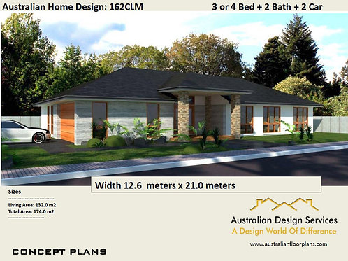 162 CLM-Corner 4 Bed + Garage:174.0 m2 | Preliminary House Plan Set