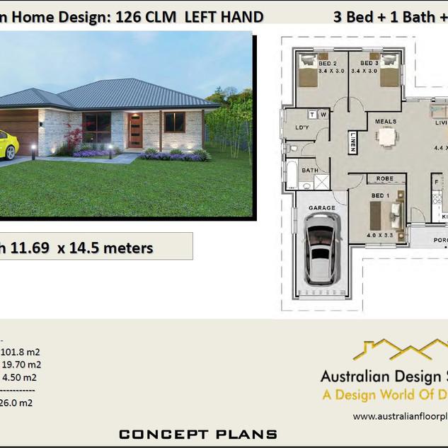 3 Bed + Garage House Plan126 CLM
