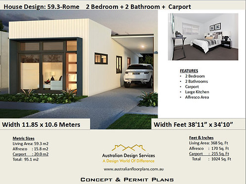 Small House Plan 2 Bedroom 2 Bathroom |  59.3 RH- Rome House Plan