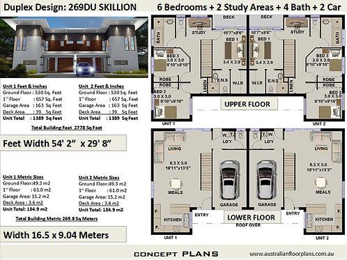 Working Drawings Duplex / Townhouse design :  269DU- Skillion
