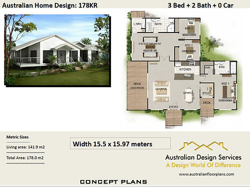 178 KR- 3 Bed + Pole Home Plan : 178.0 m2 | Preliminary House Plans