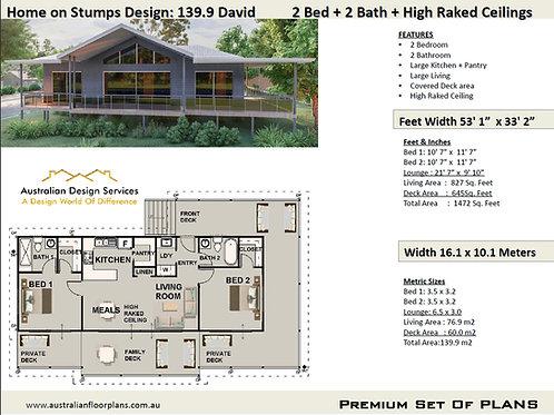 2 Bedroom House Plan on stilts/stumps: 139.9 David