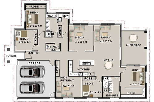 270.5 SP Modern Style | 4 Bed +Kids Rm : 270.5 m2  | Preliminary House Plans