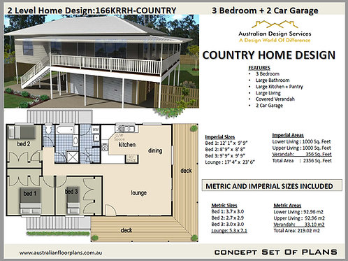 166KRRH | Country Dream Home 2 Storey 3 Bed : 219 m2 | Preliminary House Plans