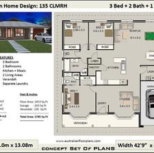 135CLM- 3 Bed + Garage House Plan