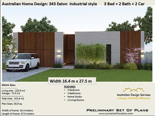 343 EATON-3 Bed + Garage Plan: 343.0 m2 | Preliminary House Plan Set