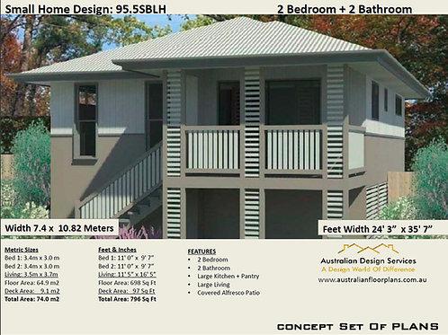 Small Narrow Land Home Design: 95.5SBLH House Plan