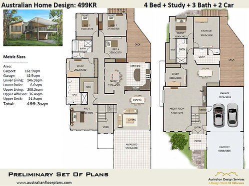 499KR | Skillion Roof 2 Storey 5 Bed + 3 Bath: 499.3 m2 | Preliminary House Plan