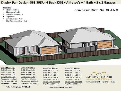 368.39du - 6 Bed + 4 Bath + 4 Cars Duplex Design