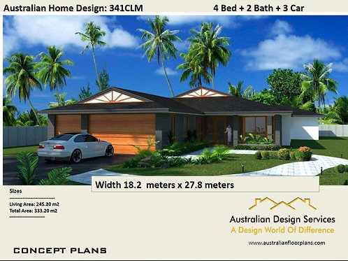 341CLM - 4 Bed Home + Triple Garage : 333.20 m2 | Preliminary House Plans
