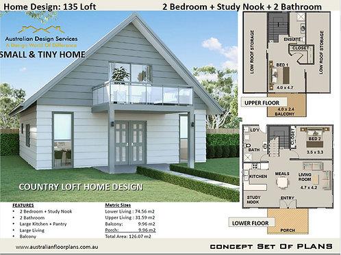Small Home with loft Design: 135Loft : 126.07 m2