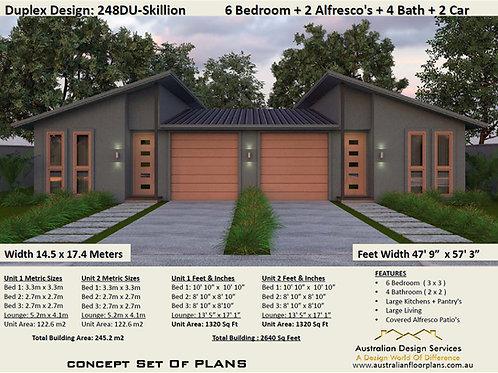 Skillion Roof Duplex Design 6 Bed + 4 Bath + 2 Cars House Plans :248duSkillion