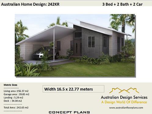 242 KR- 3 Bed + Carport : 178.0 m2 | Preliminary House Plans