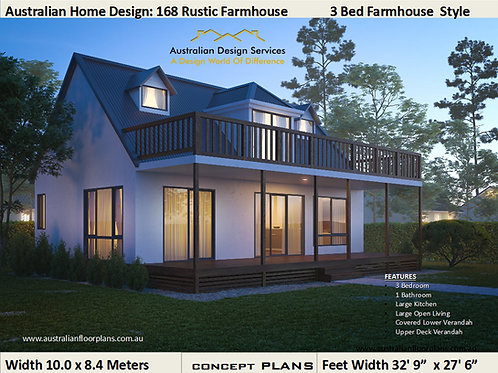 Rustic Farnhouse 3 Bedroom House Plan:168 Farmhouse | Concept Plans